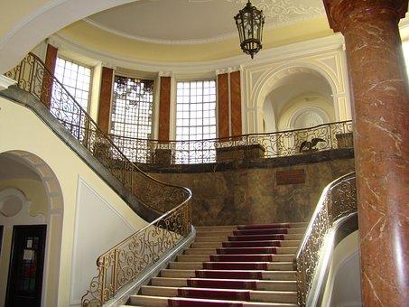 Architecture, Stairway, Columns, Inside