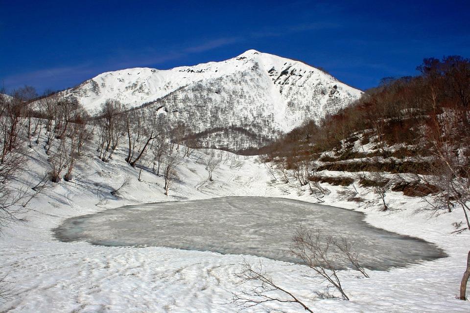 Kostenloses foto japan landschaft winter schnee for Goldfische im teich im winter