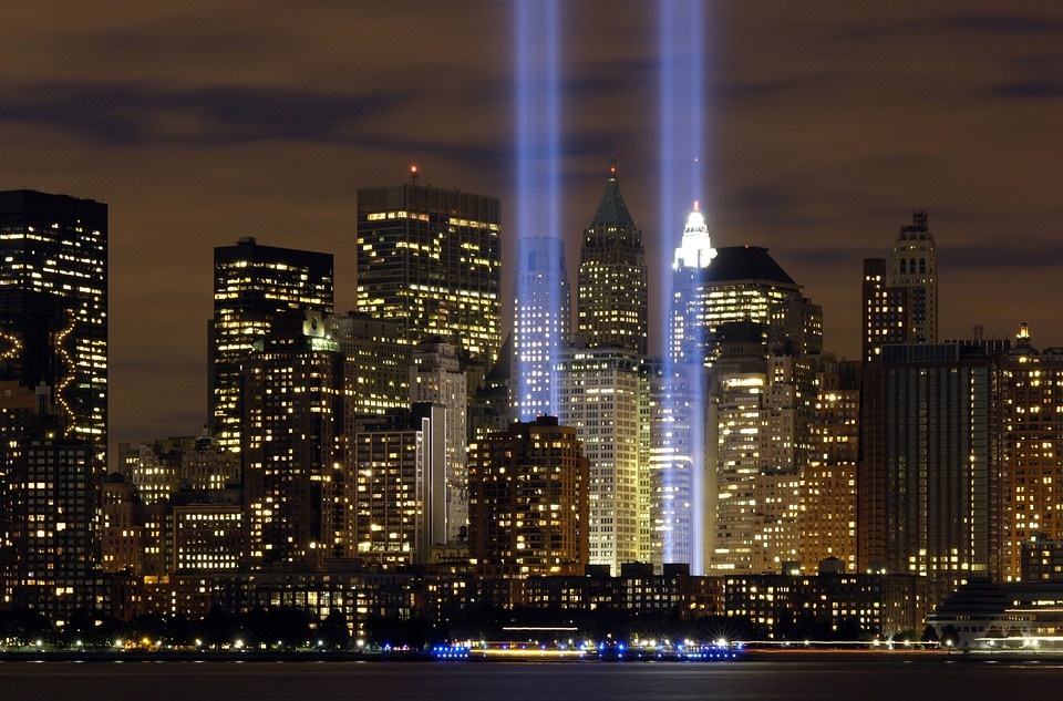 New York City Tribute In Lights Sky Clouds Night