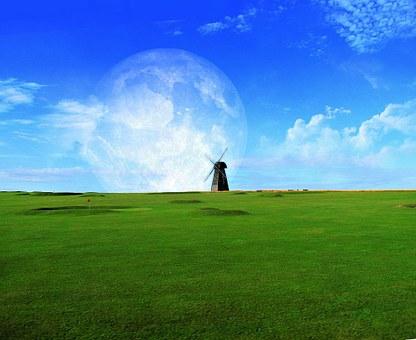 芸術, 要約, 草, 芝, 自然, 風車, オランダ, 緑, 風景, 美しい