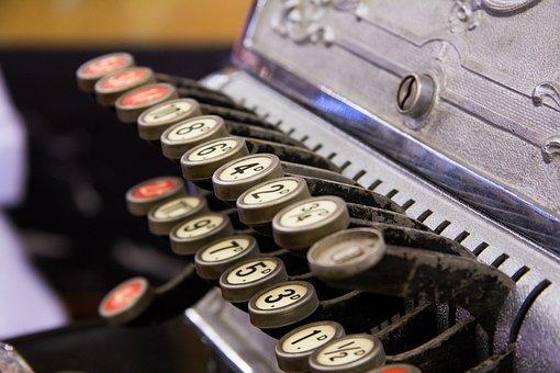 Cash Register, Keys, Numbers, Vintage