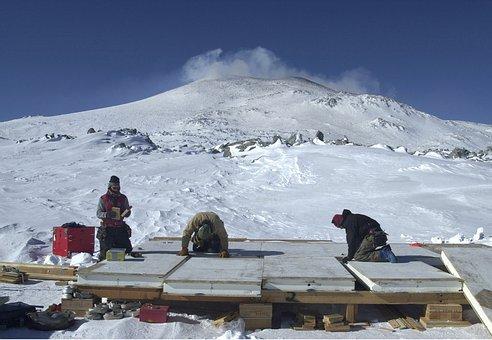 Antarctica, Men, Working, Winter, Snow
