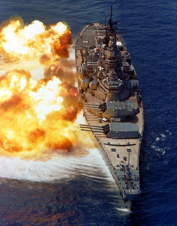 戦艦, 米海軍, ブロード サイド, 焼成, 銃, 炎, 反響, 煙, 強力な, 武器, 海, 水
