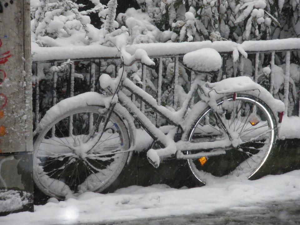 Schnee, Winter, Fahrrad, Eingeschneit