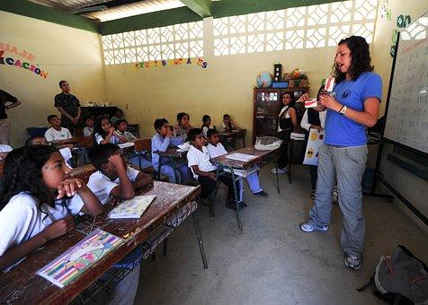 School Classroom Boys Girls Students Teach