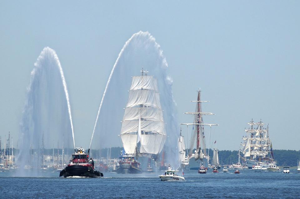 Virginia, Sky, Clouds, Harbor, Port, River, Bay, Water