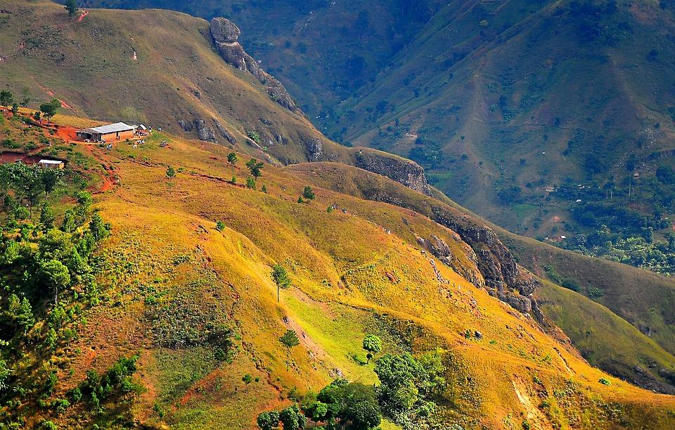 Haiti, Góry, Krajobraz, Stromy, Skały, Rocky, Kraju