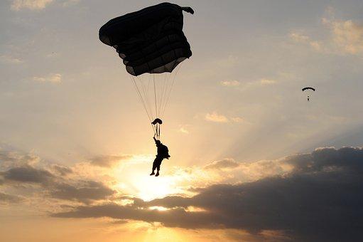 パラシュート, 人, シルエット, 日没, 空, 雲, カラフル, 着陸