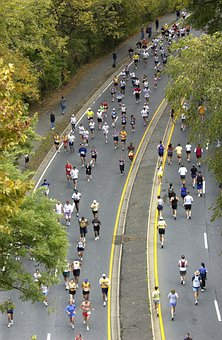 マラソン, ランナー, 長い距離, ワシントン Dc, 秋, 男性, 女性