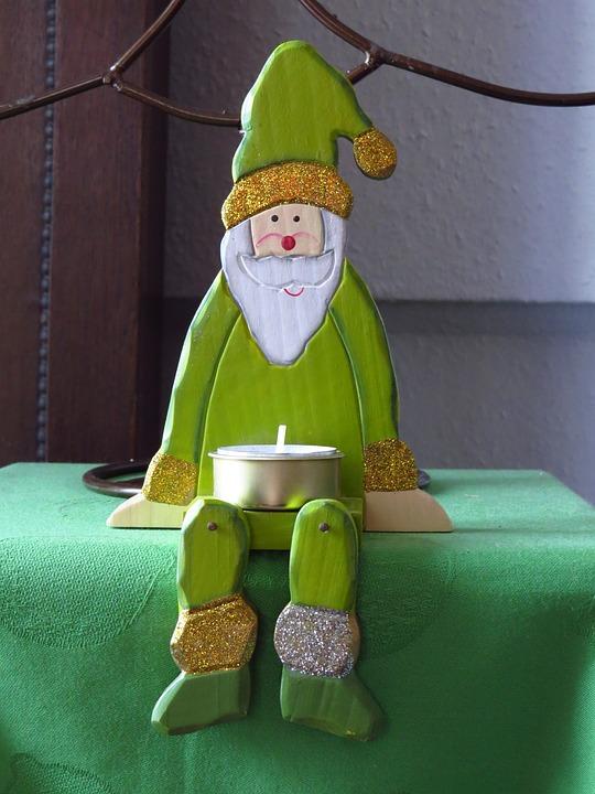 Weihnachtsmann, Grün, Sitzend, Teelicht, Weihnachten