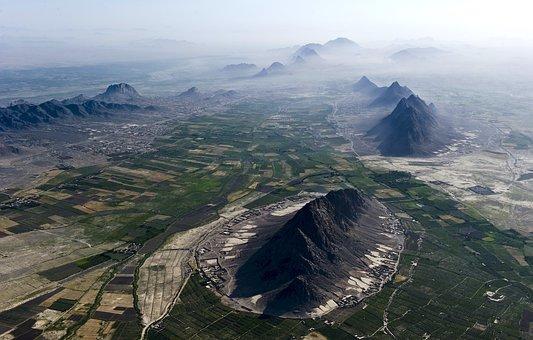 アフガニスタン, 風景, 空撮, 空, 雲, 霧, 山, バレー, 渓谷