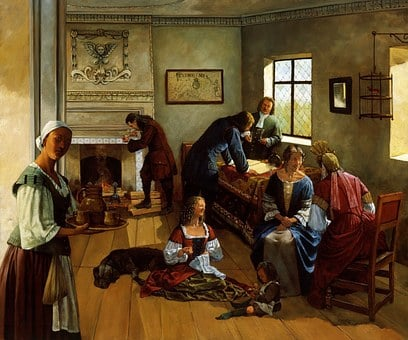 Painting Art 1690S Virginia Family Men Wom