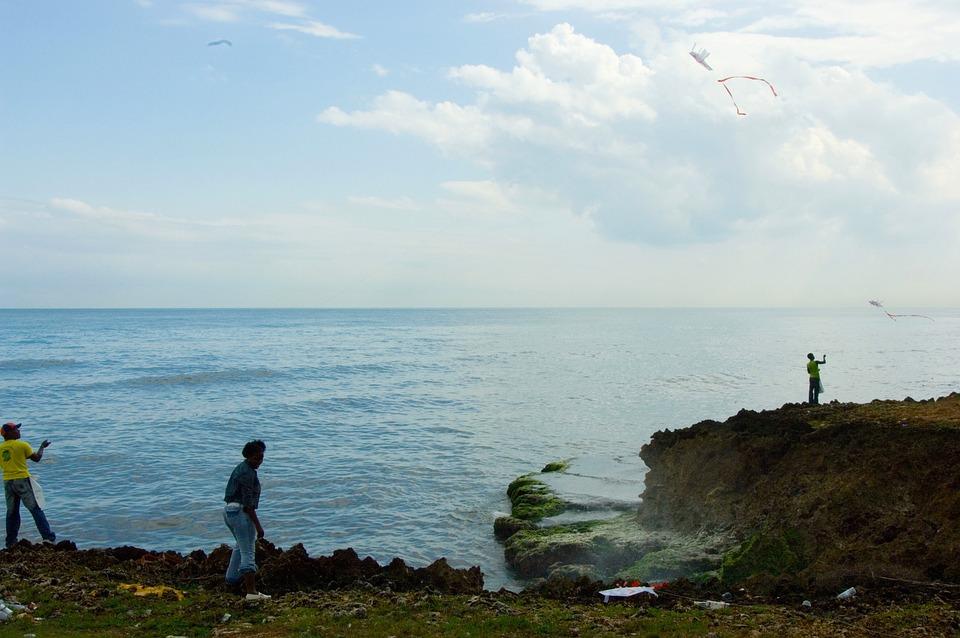 Dominikana, Morze, Ocean, Wody, Niebo, Chmury, Chłopiec