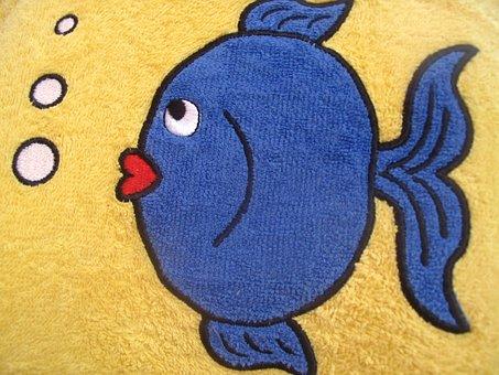 Fish, Small, Blue, Bath Rug, Towel
