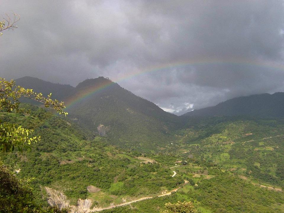 Gwatemala, Krajobraz, Niebo, Chmury, Góry, Las, Drzewa