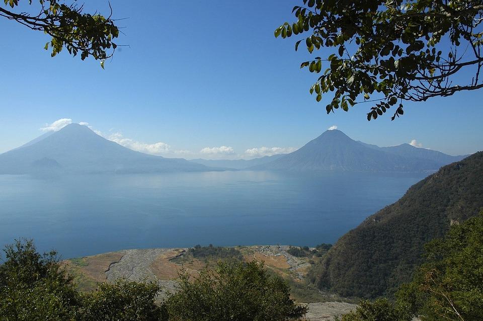 Gwatemala, Krajobraz, Jezioro, Góry, Las, Drzewa, Lasy