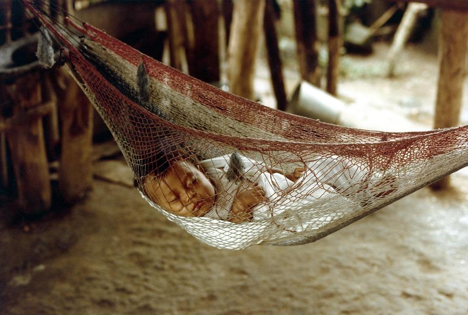 Honduras, Bebê, Dormir, Bonito, Dentro De, Cabana, Casa