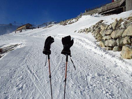 Gloves, Cold, Warming, Black, Ski Run