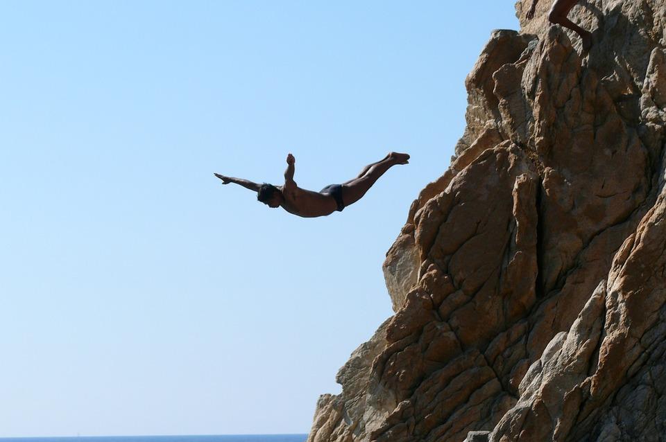 アカプルコ, ラ ケブラーダ, ロック, 水に飛び込む, 水, 海, フライト