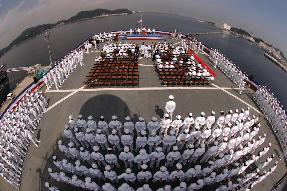 船, 空母, 横須賀, 日本, 山, 海, 水, 形成, 軍, 船員, 軍事, 海軍, 外, 魚眼レンズ