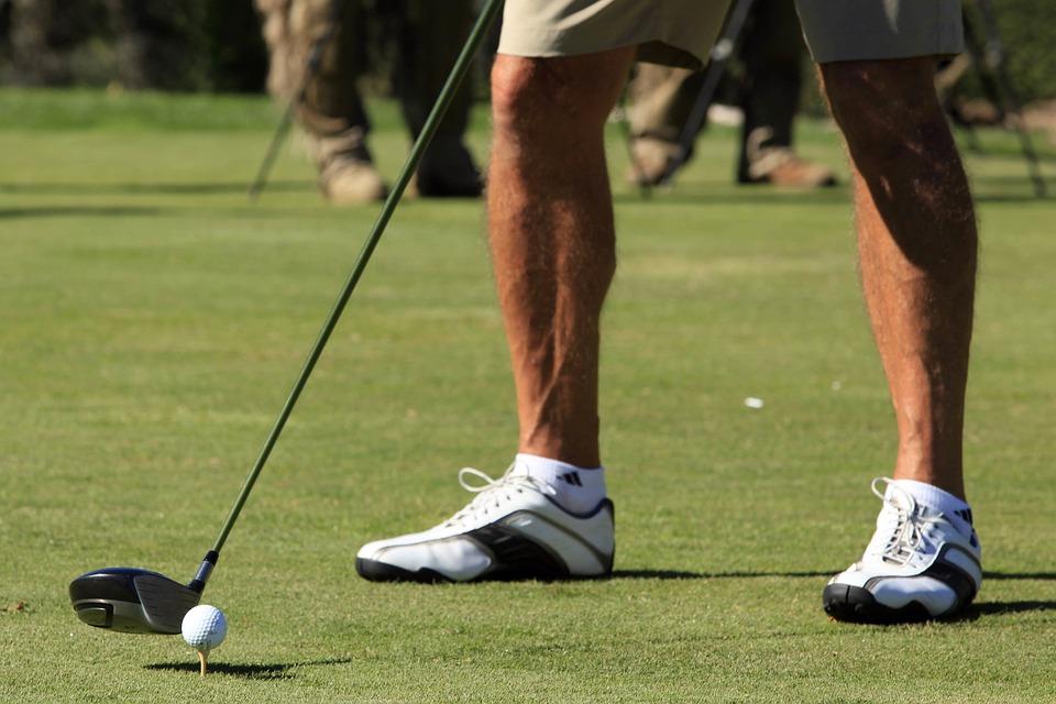 Golf, Té, Cours, L'Homme, Ensoleillé, Boule, La Queue