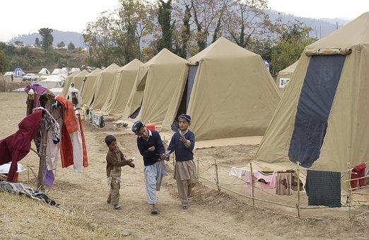 Shinkiari, パキスタン, キャンプ, テント, 子供, 木, 自然