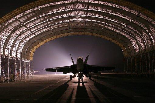Hangar, Jet, Avion, Chasse, Silhouette