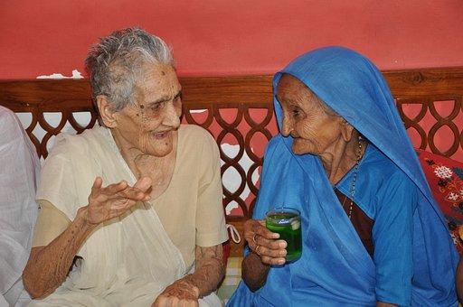 Frau, Alte, Indien, Menschen, Person