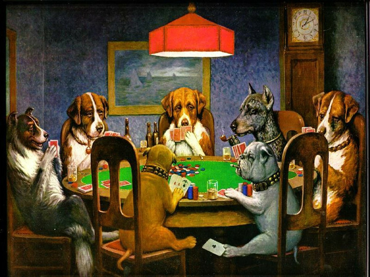 "Two 1903 paintings recently sold at auction for $590,000 – the paintings were in the famous ""Dogs Playing Poker"" series."