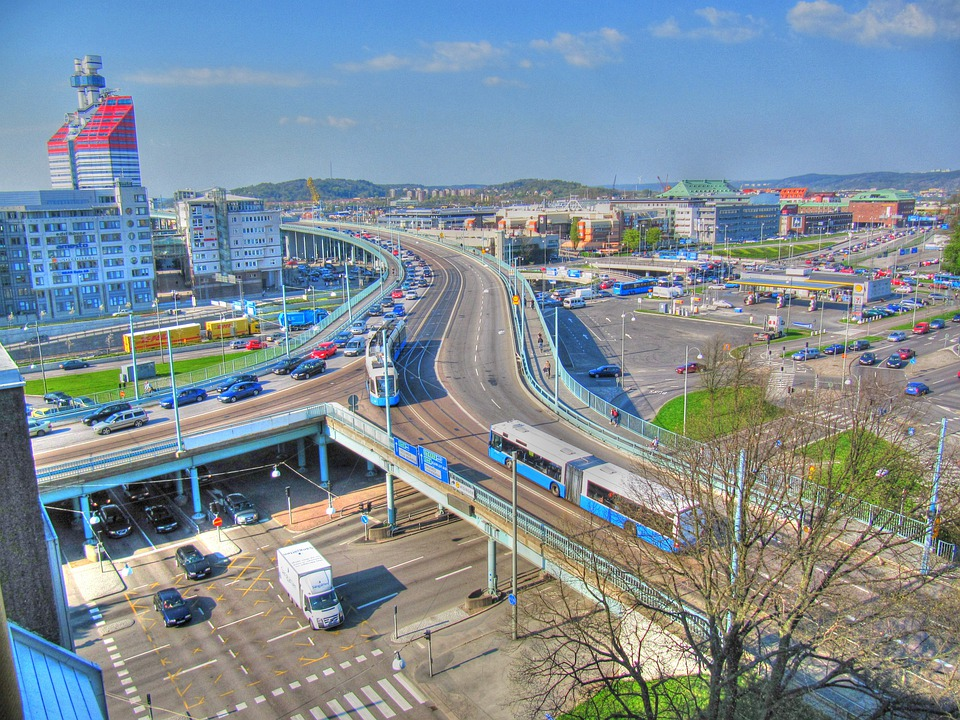 Gothenburg, Sweden, City, Landscape, Highways, Roads