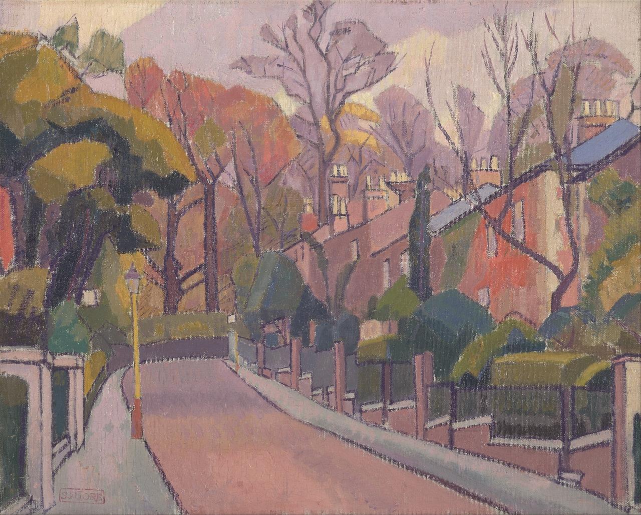 斯潘塞戈尔,艺术,画,布面油画,艺术性,景观,天空,云,树,自然,目睹,国家,农村,景区,街图片