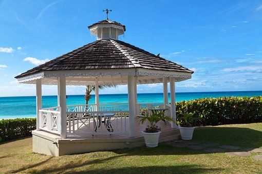 Gazebo, Ocean, View, Sky, Blue, Vacation