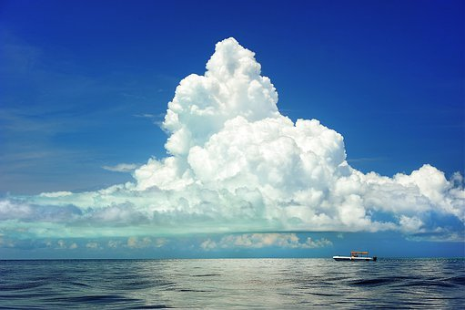 Mar, Cúmulus, Barco, Nubes, Marinos