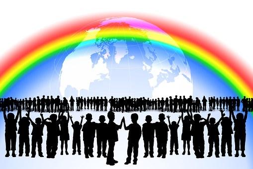 Rainbow, Children, Game, Lots