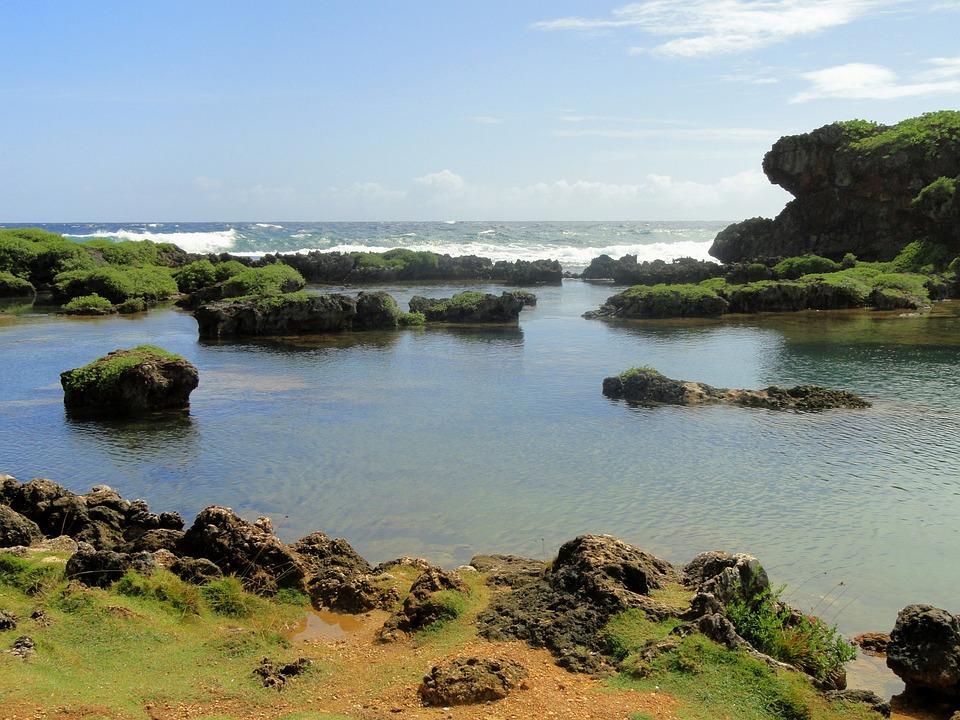 グアム, 海, 水, 岩, 自然, 外, 空, 雲, 波, ロッキー, 植物, 風光明媚な