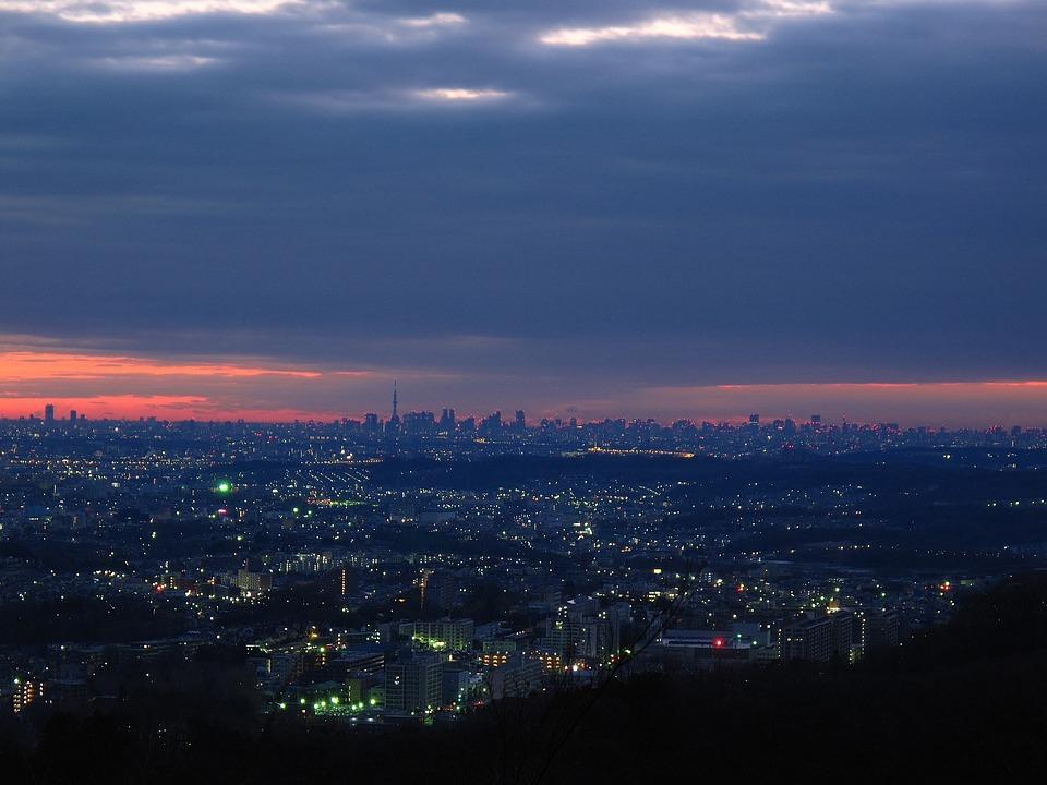 Tokio, Japan, Himmel, Wolken, Nacht, Abend, Gebäude