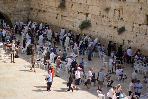 Jerusalem Klagemauer Gläubigen Menschen Jü
