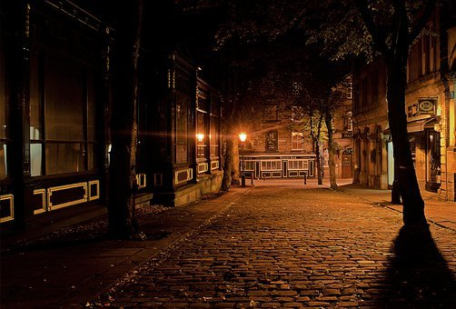 City, Night, Dark, Architecture, Lamps