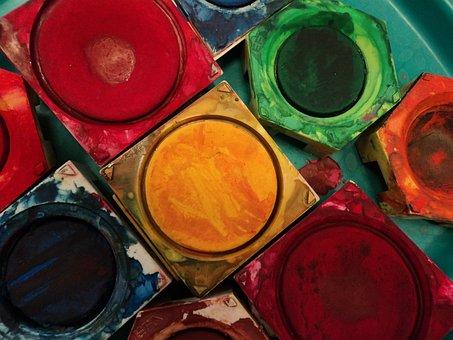 Farbe, Farbkasten, Tusche, Tuschkasten