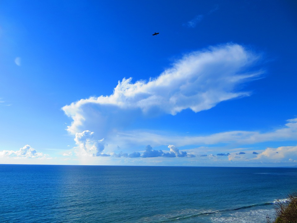 blue ocean clouds scenic - photo #3