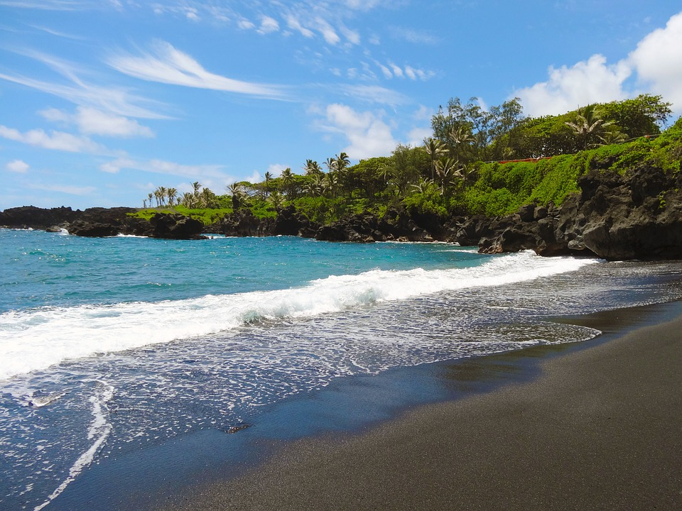 Free photo black sand beach hawaii maui free image Black sand beach hawaii