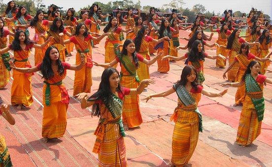 Bodoland India Women Girls Dancing Ceremon