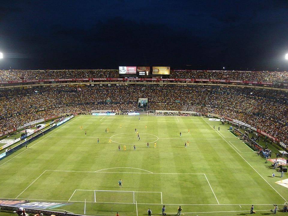 Soccer, Football, Field, Grass, Night, Evening, Lights