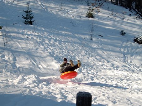 Snow Tubing, Sled, Sledding, Snow
