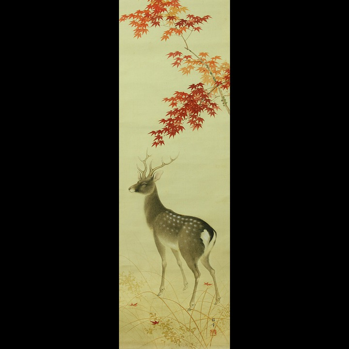 Antique Japanese Scroll: Free Photo: Japan, Japanese, Scroll, Deer, Stag