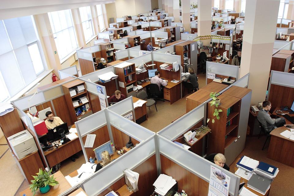 ロシア, オフィス, 男性, 女性, 作業, 労働者, 複雑な, キュービクル, コンピューター, 建物