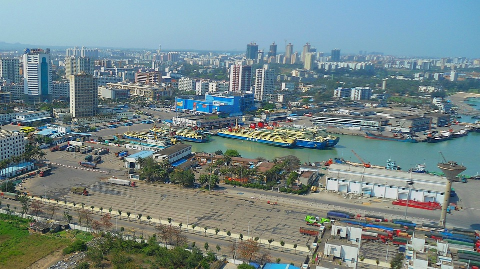 Haikou, China, City, Bay, Harbor, Water, Ships, Boats