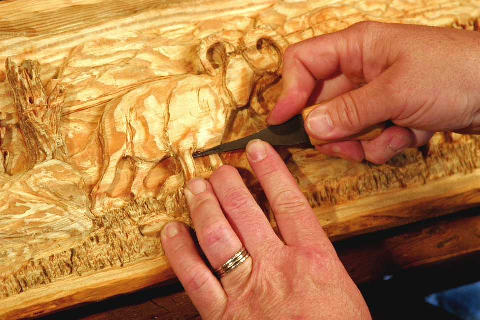 Free photo carving wood mantel hands image on
