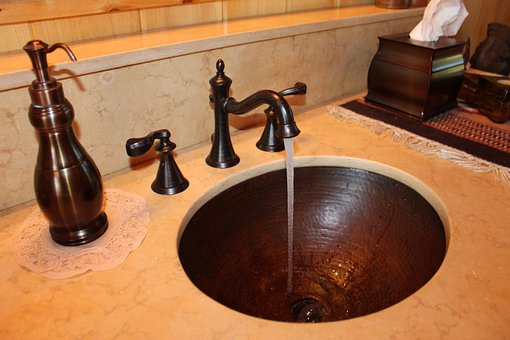 Sink, Copper, Bathroom, Washroom, Water