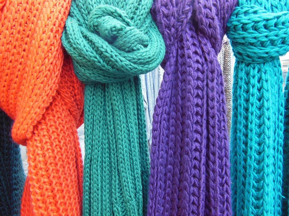 スカーフ, ニット, ニット スカーフ, クローズ アップ, ニットのマスク, 色, オレンジ, 紫